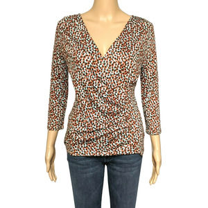 Talbots Red Multi Dots Faux Wrap V Neck Top SP NWT